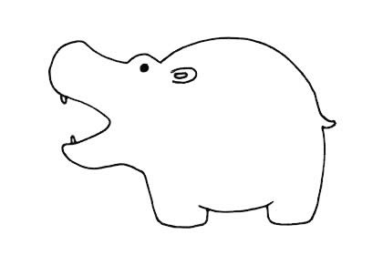 卡通河马简笔画,河马的画法简笔画图片