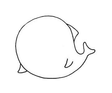 卡通海豚简笔画步骤图片教程,如何画海豚简单画法