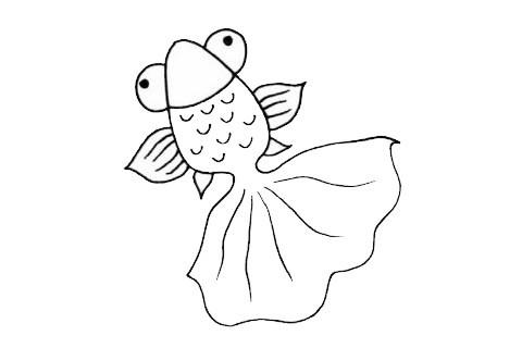 卡通金鱼简笔画简单画法步骤图片大全