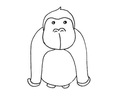 卡通大猩猩简笔画超简单画法步骤图片大全