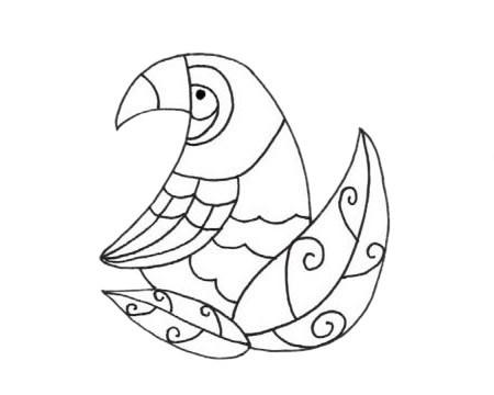 鹦鹉简单画法 卡通鹦鹉简笔画步骤图解教程