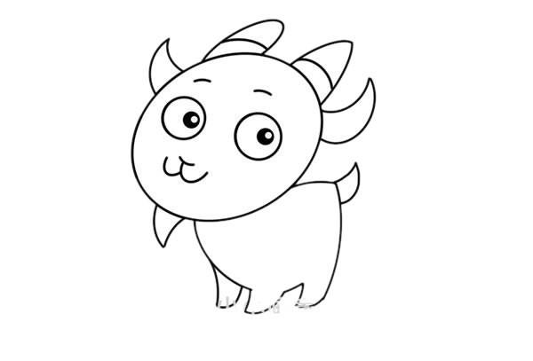 山羊卡通简笔画彩色 可爱山羊简笔画步骤图解教程