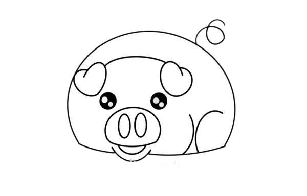 香猪如何画 卡通小香猪简笔画步骤图解教程