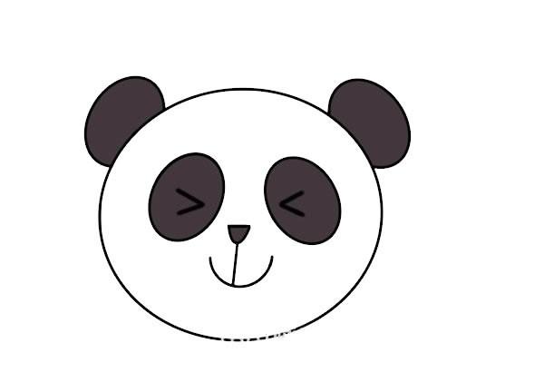 大熊猫头像简笔画步骤图解教程
