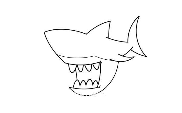 凶狠的鲨鱼简笔画画法步骤教程 鲨鱼如何画才可怕