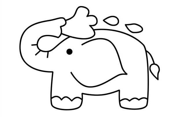 在洗澡的可爱小象简笔画图片