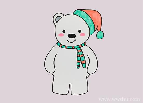 卡通北极熊简笔画,北极熊如何画简单又漂亮