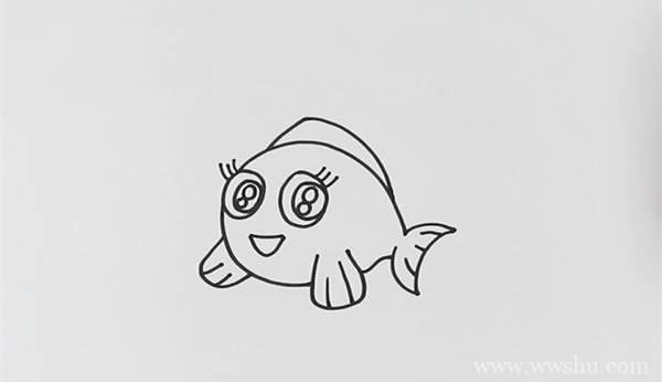 漂亮的小丑鱼简笔画步骤画法教程