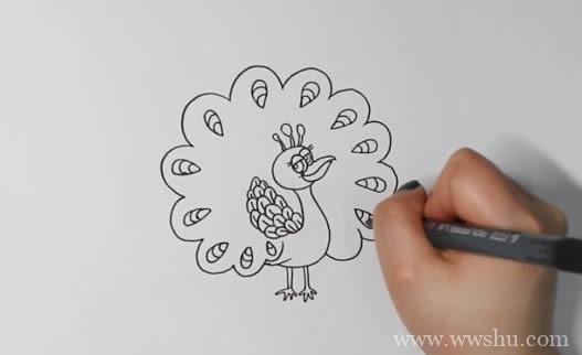 孔雀开屏简笔画如何画简单漂亮
