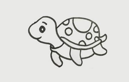 海龟如何画简笔画步骤图片-儿童简笔画乌龟的画法