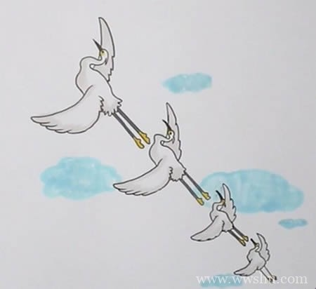 一行白鹭上青天如何画简单又漂亮-白鹭简笔画