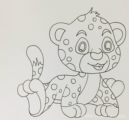 卡通豹子如何画简单又可爱-豹子简笔画