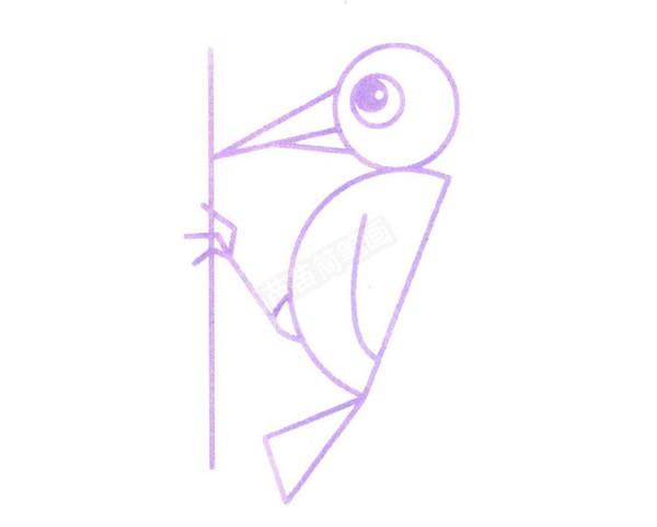 简单的啄木鸟简笔画画法步骤图解教程