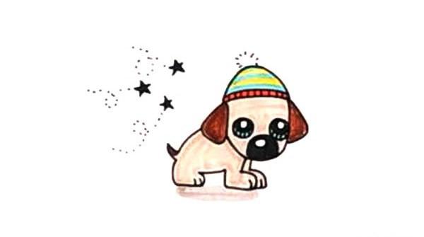 一组可爱的卡通小狗狗简笔画图片大全