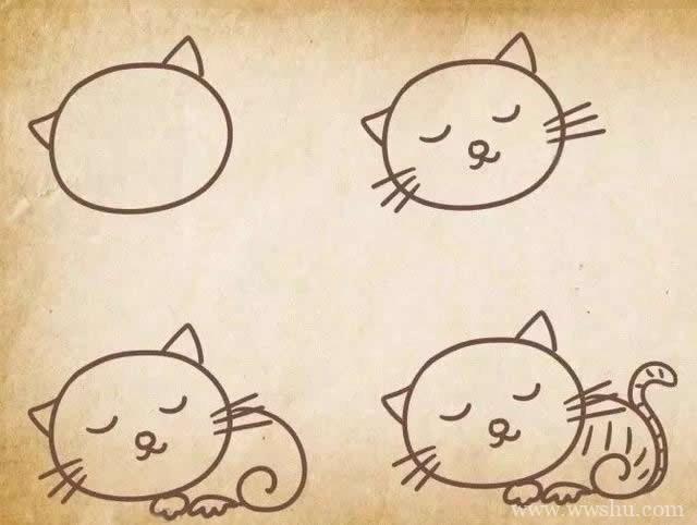 小猫咪的五种画法大全 - 小猫简笔画步骤图解