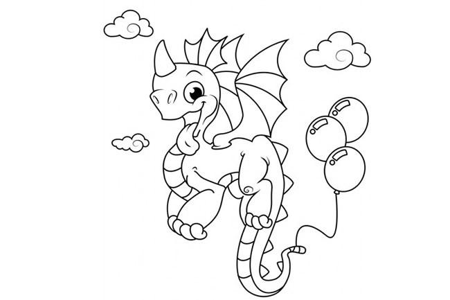 3张可爱的小火龙简笔画卡通画法图片