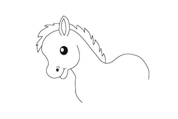可爱的小马简笔画步骤图解教程 卡通小马