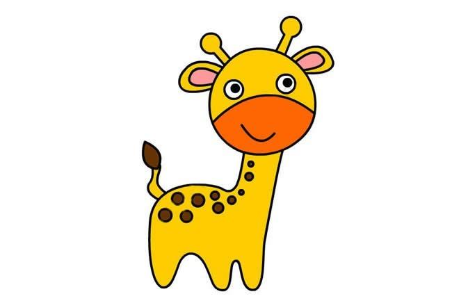 卡通长颈鹿简笔画步骤图解 简单的画法图文教程
