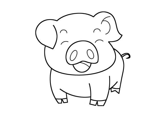 卡通小猪简笔画 可爱的小猪三种简单画法