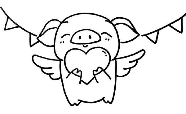 小猪天使简笔画 捧着爱心的小猪天使简单画法