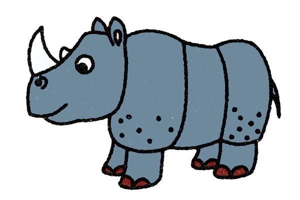 犀牛如何画 犀牛的简笔画步骤图解教程