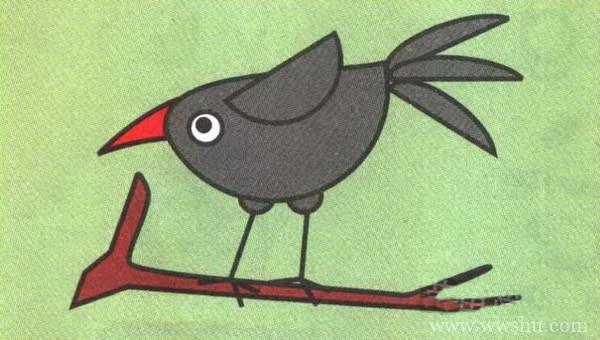 简单的乌鸦画法 乌鸦简笔画步骤图解教程