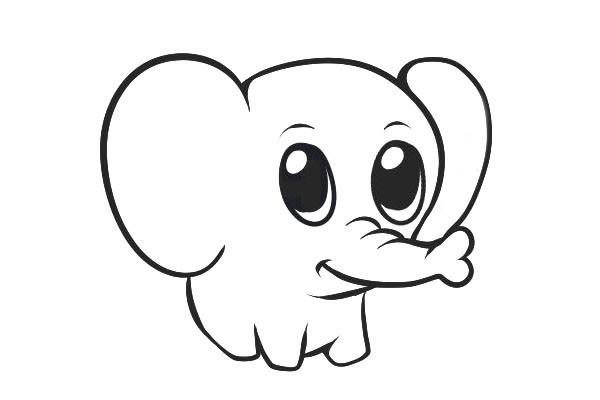 可爱的小象简笔画步骤图解教程