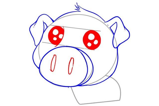 可爱的卡通小猪简笔画画法步骤图解教程