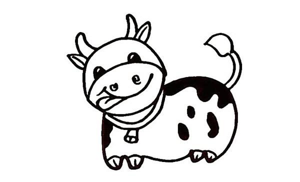 一步步教你画可爱的奶牛简笔画画法步骤图解教程