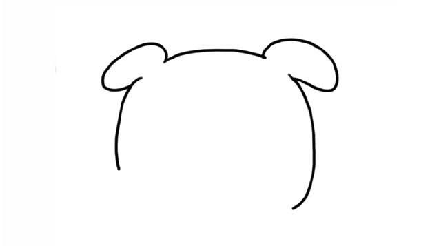 简单六步画出拿着花的可爱小猪简笔画步骤图解教程