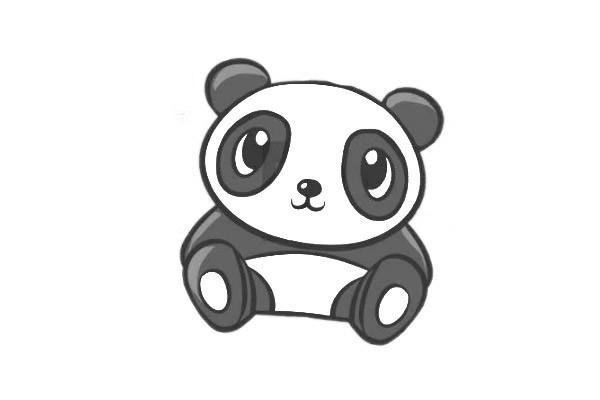 简单六步画出可爱的大熊猫简笔画步骤图教程