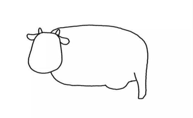 奶牛简笔画 农场里的奶牛彩色画法步骤图解教程