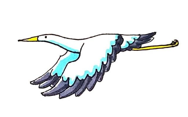 丹顶鹤简笔画 飞翔的丹顶鹤简笔画步骤图解教程