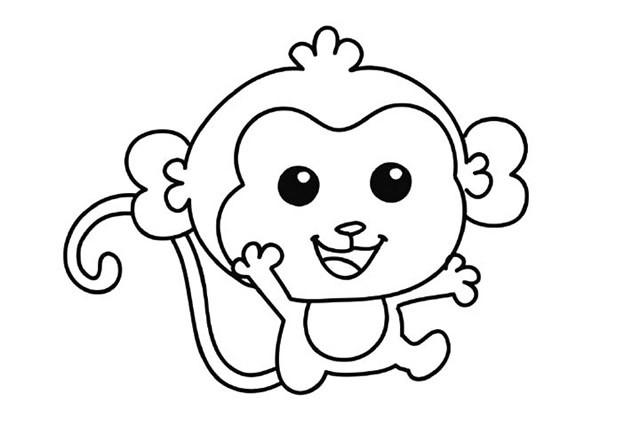 猴子的简笔画 学画开心的小猴子简笔画步骤图解教程