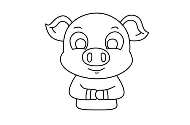小猪拜年简笔画步骤图解教程