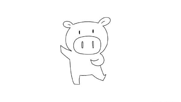 放炮仗的小猪简笔画的画法步骤图解教程