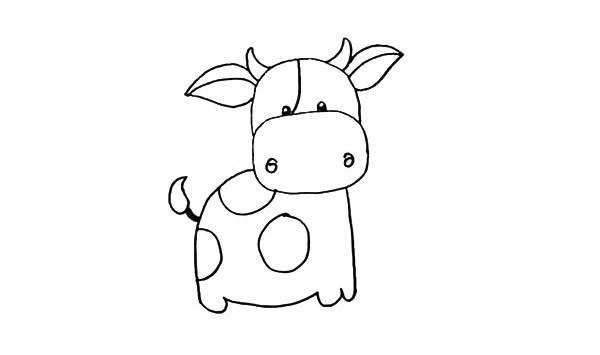 奶牛简笔画 卡通小奶牛简笔画步骤图解教程