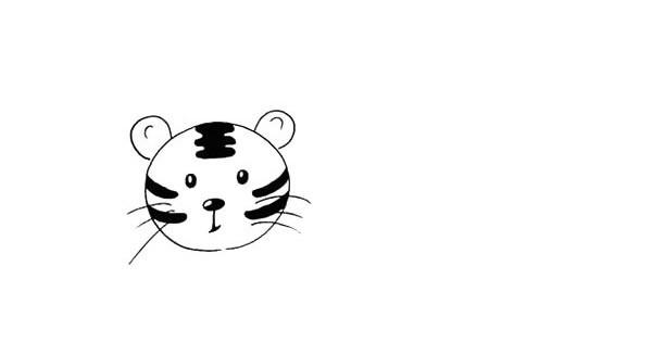 老虎和熊猫头像简笔画的画法步骤图解教程