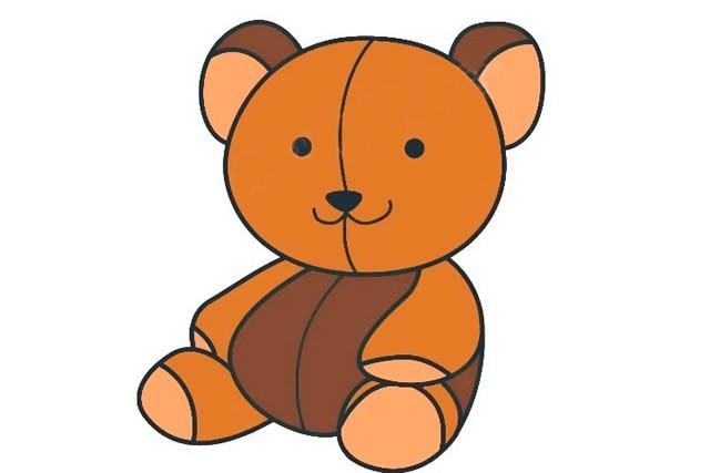 泰迪熊玩具简笔画 简单的画法步骤图解教程