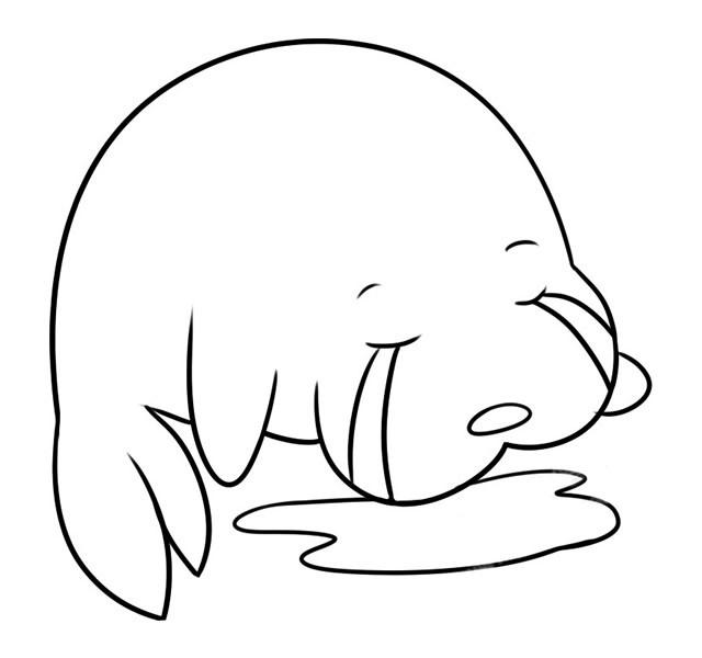 卡通海狮简笔画 儿童学画哭泣的海狮简笔画教程步骤图片大全