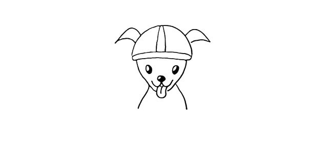学画骑摩托的小狗简笔画步骤图解教程