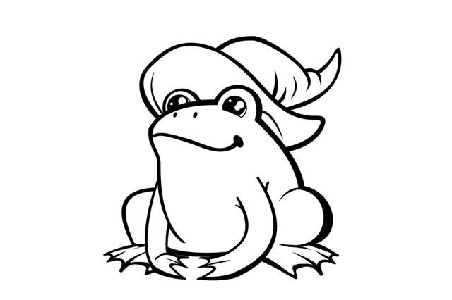 青蛙简笔画图片 戴女巫帽的青蛙