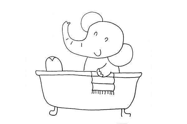 爱洗澡的小象简笔画画法步骤图教程