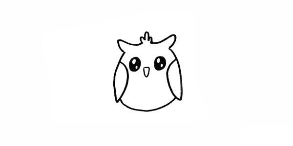 猫头鹰简笔画彩色画法步骤图教程