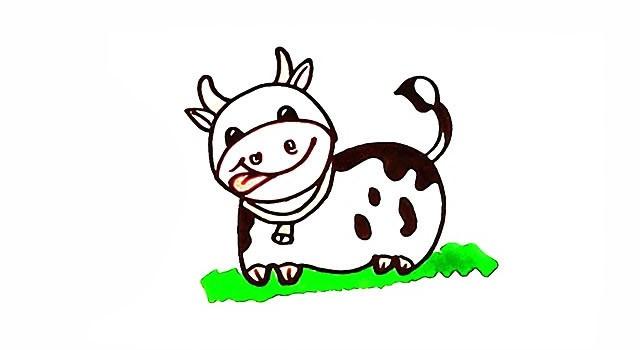 奶牛如何画 奶牛简笔画彩色画法步骤教程
