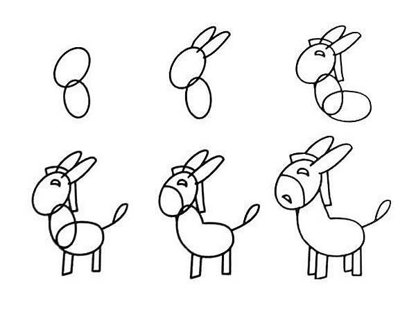 简单的小毛驴简笔画 简笔画小毛驴的画法步骤图片