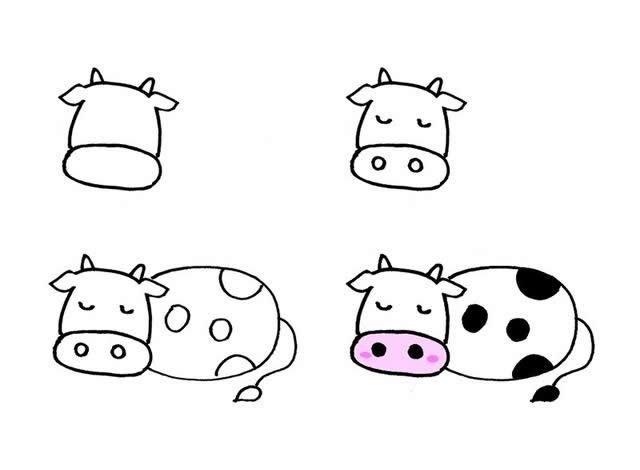 不同形态的小牛简笔画素材大全 简单几笔就能画出来