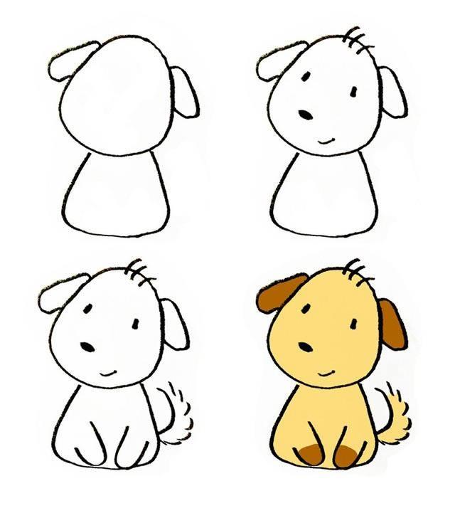 可爱的小黄狗简笔画步骤图片