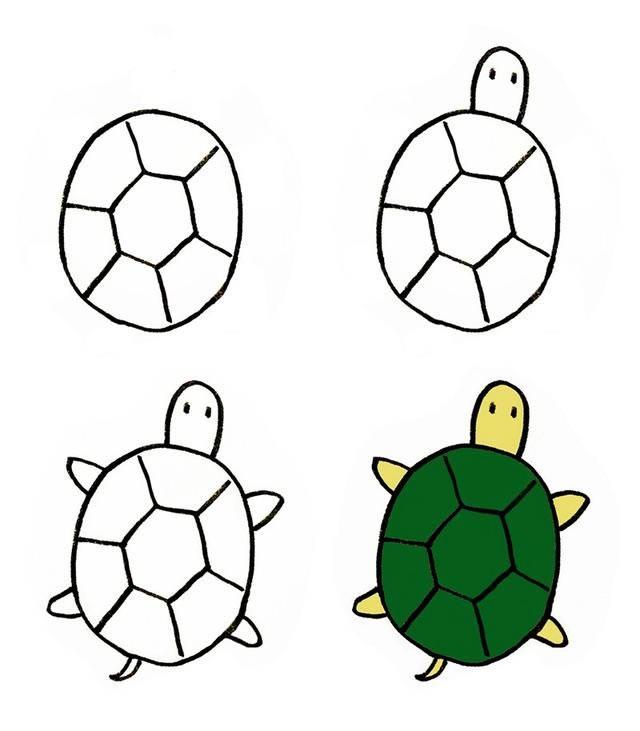 简单的乌龟简笔画 简笔画乌龟的画法步骤图片