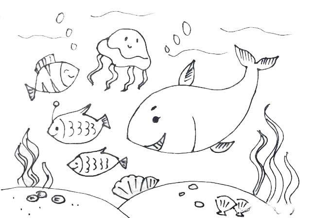 海洋主题儿童简笔画画法步骤教程
